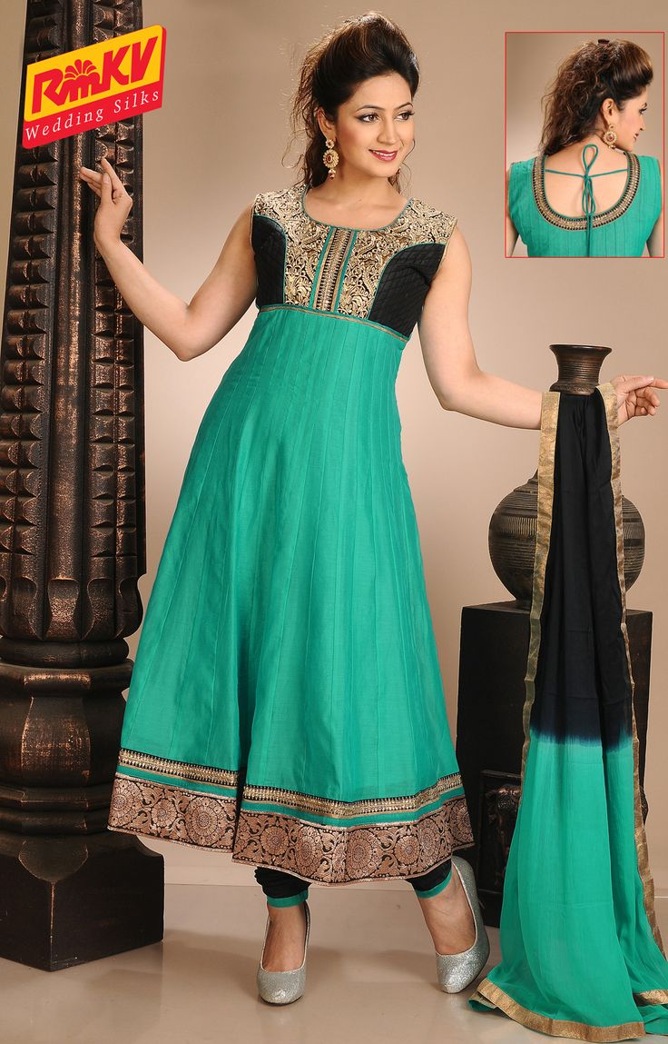 Embroidered Ch,eri Cotton Anarkali Set in Turquoise-green , Black - RmKV Silks