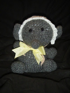 """Just Mich: Crochet baby elephant. He was a baby shower present and I believe he's been named """"Nelly"""". Of course."""
