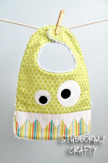 Stubbornly Crafty: Monster Bib {Pattern & Tutorial}Pattern Tutorials, Sewing Projects, Monsters Bibs, Baby Shower Gift, Sewing Pattern, Bibs Pattern, Baby Bibs, Kids Clothing, Stubborn Crafty