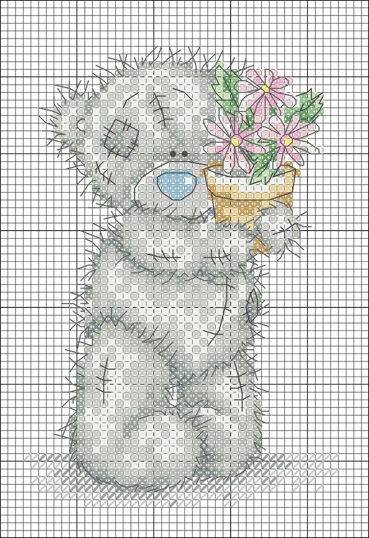 для мишки крестом тедди вышивок схемы