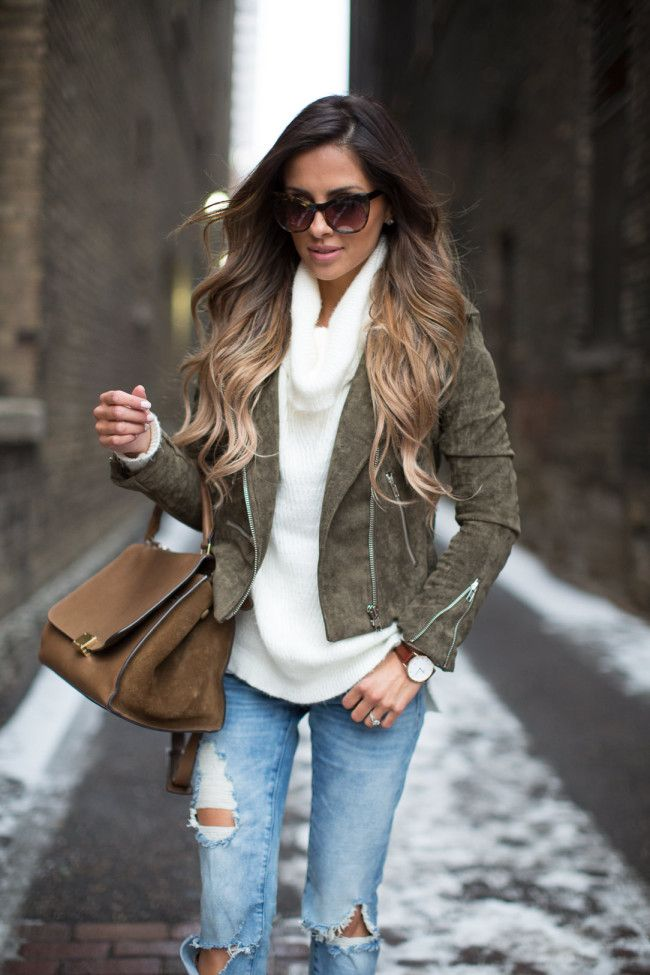 """Khaki Colors. Lulu*s Green Suede Jacket (wearing size small) c/o // Asos White Cowl Neck Sweater (similar here) // BlankNYC Ripped Jeans // Celine Trapeze Bag Borrowed From Trendlee (use code """"MiaMiaMine"""" for discount) // Daniel Wellington Watch (use code """"MiaMiaMine"""" for 15% off + free Valentine's Day gift wrapping) c/o // Elizabeth & James Sunglasses // Kurt Geiger Leopard Heels (similar here and here)"""