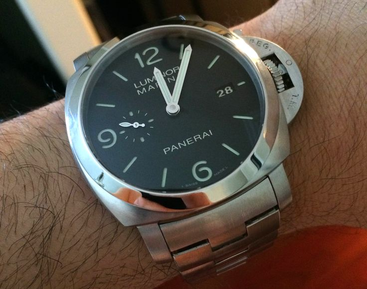 This Officine Panerai Luminor Marina PAM328 In For Review On The Wrist - Rare to see a Panerai on a bracelet, but really liking it. Look for the article and more pictures soon, but for now, check out more Panerai Luminor watches we've written about on aBlogtoWatch.com