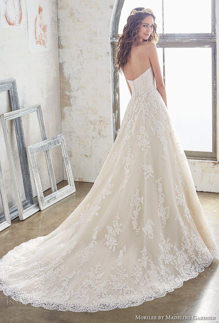 morilee spring 2017 bridal strapless semi sweetheart neckline full embellishment romantic a  line wedding dress chapel train (5502) bv