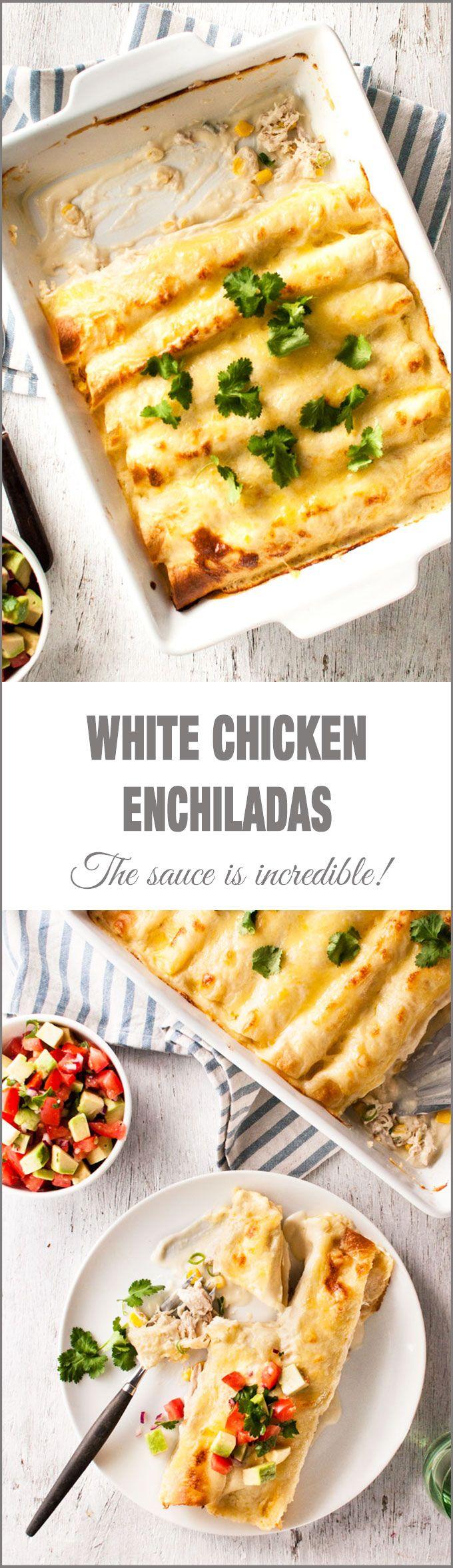 Cheesy white chicken enchiladas that aren't too rich!