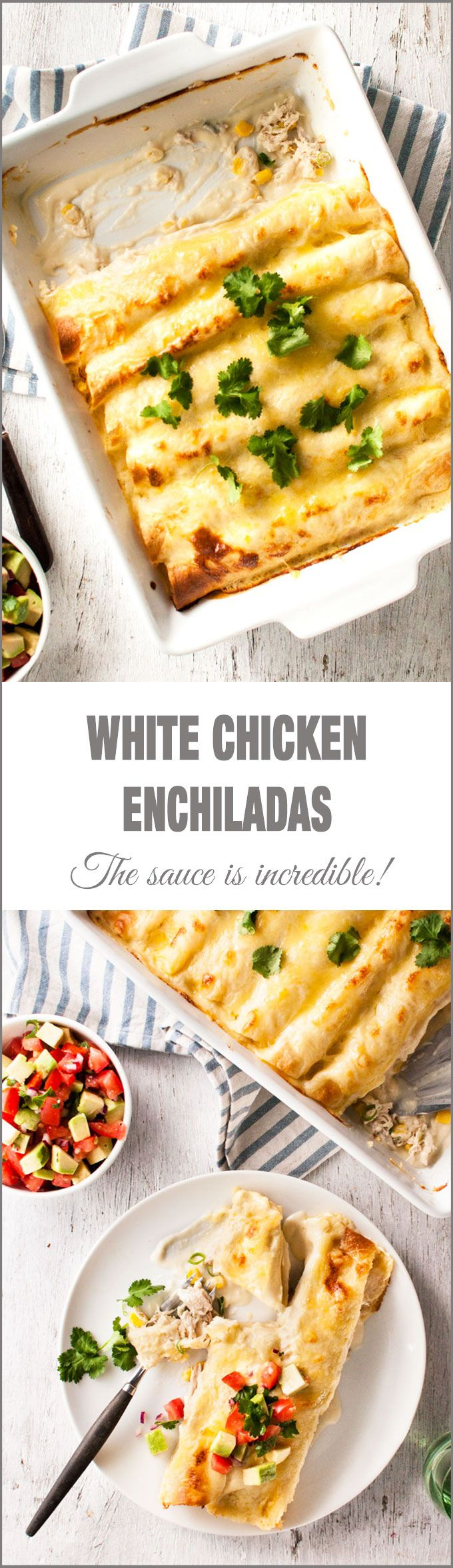 Cheesy white chicken enchiladas that aren't too rich!