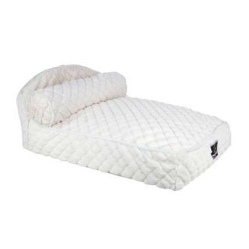 this adorable chaise style bed lets your lavish pet spread out and get comfy on the