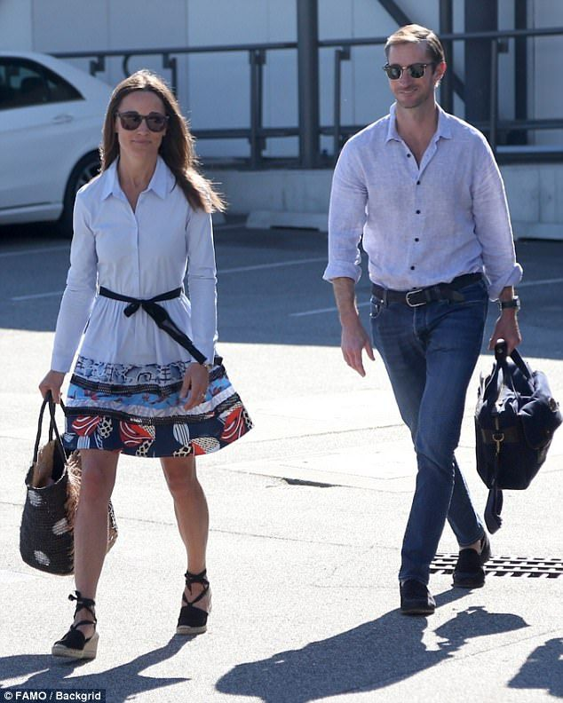 Pippa Middleton and James Matthews were spotted at Perth airport on Monday, after only touching down 24 hours earlier