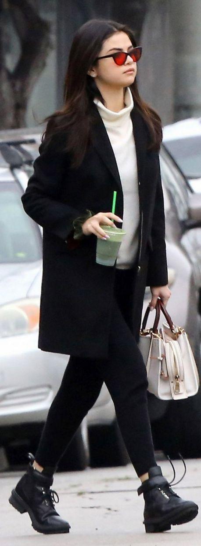 Selena Gomez: Coat – Topshop  Purse – Coach  Sunglasses – Garrett Leight California Optical x Claire V.  Shoes – Balenciaga