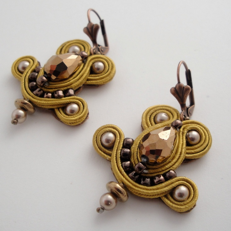 Gold Soutache Earrings. $65.00, via Etsy.