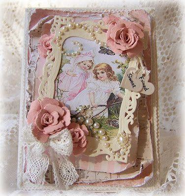 Tattered Treasures: Handmade Valentine Rose Garden Card for The Shabby Tea Room