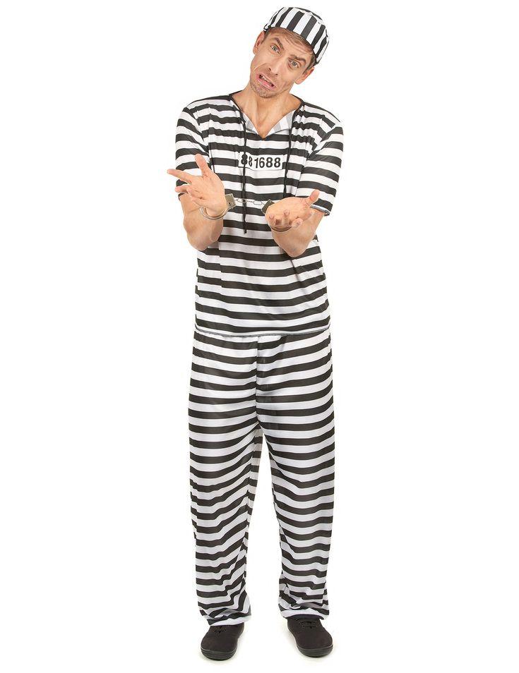 Disfraz de preso a rayas para hombre con gorro y número de recluso (esposas y zapatos no incluidos).      Disfraz alucinante y perfecto para tus fiestas de disfraces o temáticas.