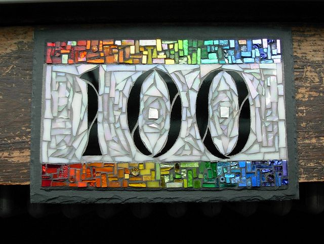 Rainbow Mosaic House Number by Nutmeg Designs by Nutmeg Designs, via Flickr