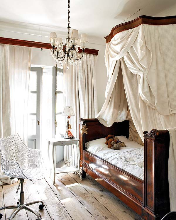 the bed... the floors... the lucite chair.... the doors and drapes... earthy, dramatic, masculine, romantic, modern, antique, rustic, polished, light, dark, shiny, dull... a study in contrasts perfectly executed