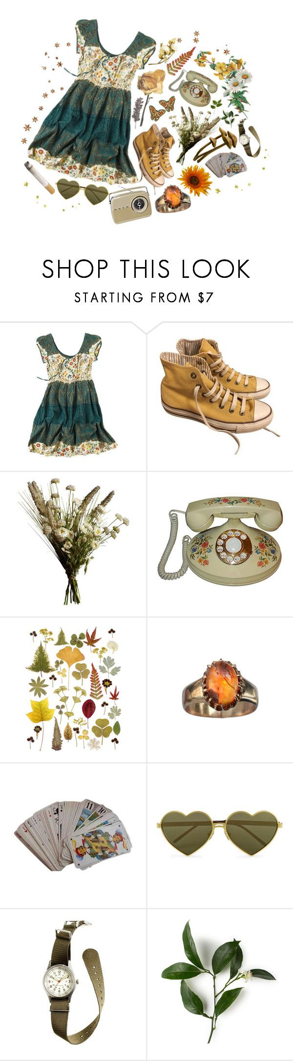 """""""wildflower child ❀"""" by gnarlycarly99 ❤ liked on Polyvore featuring Joe Browns, Converse, Abigail Ahern, Hermès, Wildfox and J.Crew"""