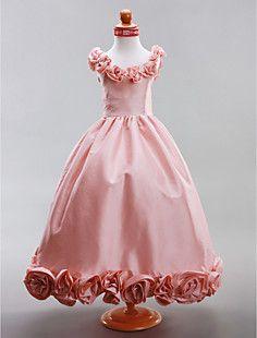 A-line Scoop Floor-length Taffeta Flower Girl Dress – USD $ 99.99