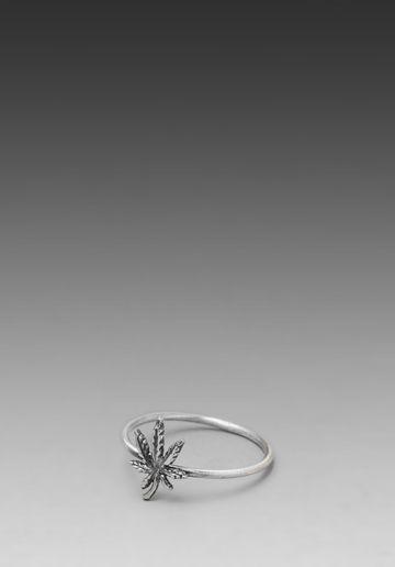Bing Bang Pot Leaf Mini Stack Ring in Sliver