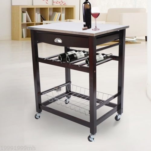 Kitchen Island Trolley Cart Wooden Wine Holder Rack