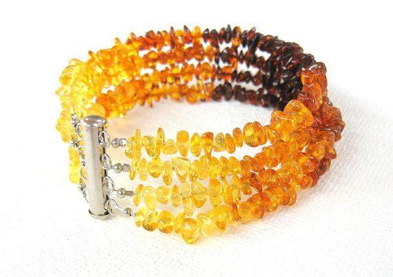 Baltic Amber Multistrand Bracelet Ombre Brown Cognac by SanaGem