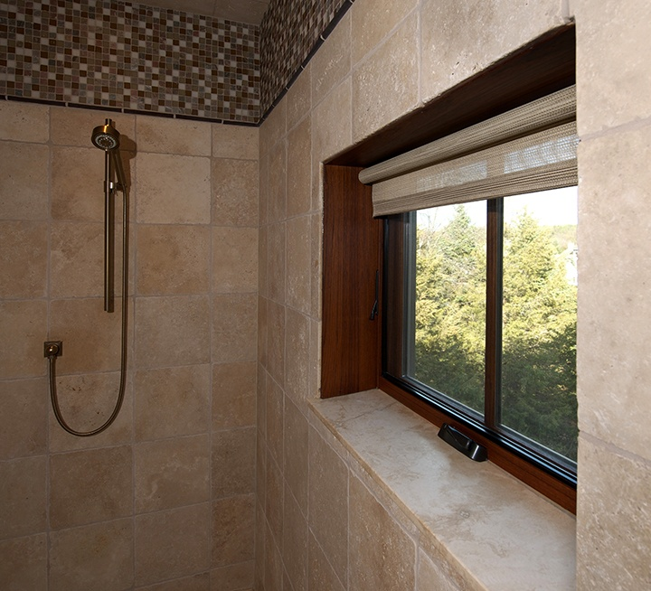 Shower with Pinnacle clad awning windows by Windsor Windows & Doors. www.windsorwindows.com