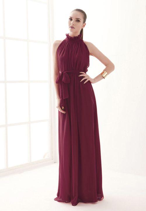 Wine Red Stand Collar Pleated Chiffon Dress - Sheinside.com