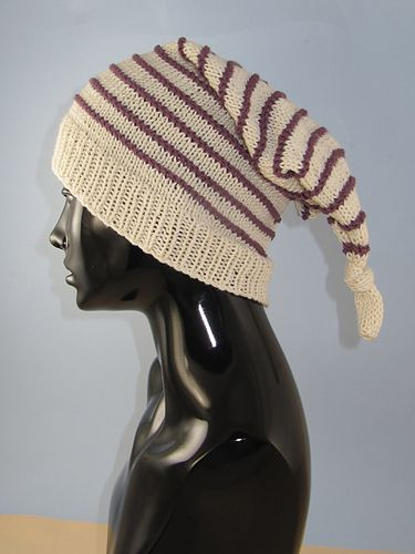 This is my Stripe Topknot Pixie Hat.