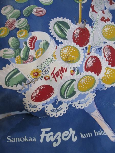 By Albert Andersson, c.1950-60, Finnish poster art.  Everybody remembers Fazer candies, especially at Christmas.