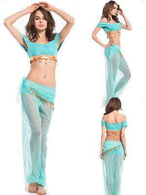 Blue Princess Jasmine Genie Belly Dancer Arabian ladies sexy Fancy Dress Costume