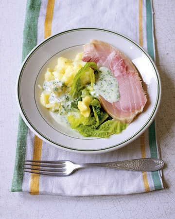 Traditional Irish Bacon, Cabbage & Parsley Sauce... I gotta try this for the corned beef this year.