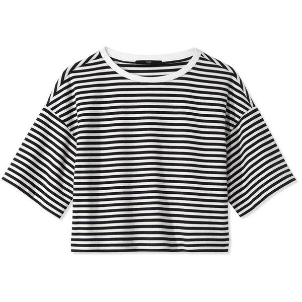 Tibi Ren Stripe Crop Top ($198) ❤ liked on Polyvore featuring tops, shirts, crop tops, stripe top, crop shirts, tibi, crew shirt and striped top