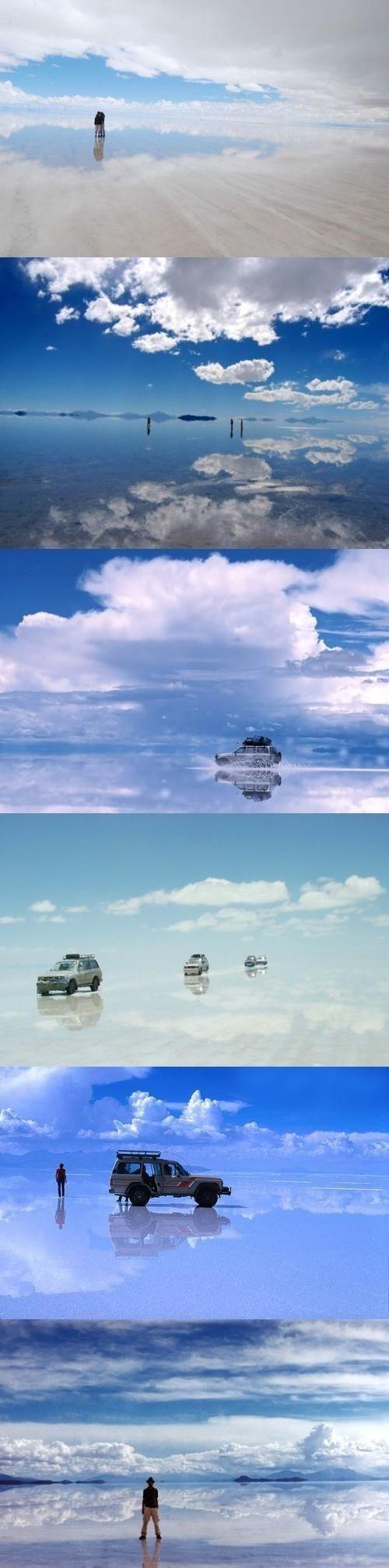 It's called the border between heaven and earth - Solar De Uyuni, Bolivia
