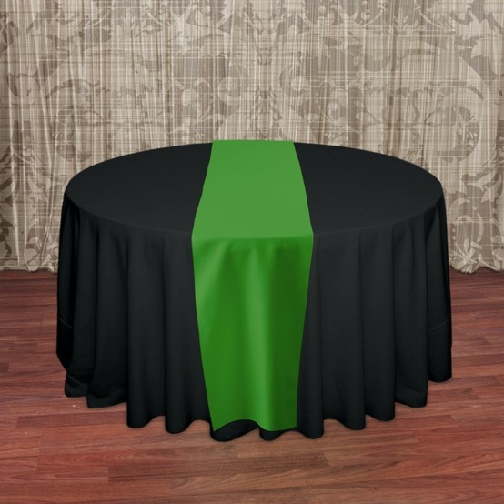 Green Table Runner On Black Table Cloth Emerald Green