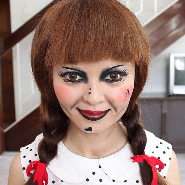 annabelle doll makeup halloween tutorial check out my channel here wwwyoutube - How To Make A Doll Costume For Halloween