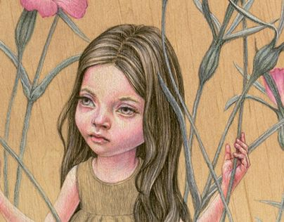 I started drawing various real and fictional plants, with young girls standing among them. I'm drawing these pictures on wooden planks with aquarelle pencils.