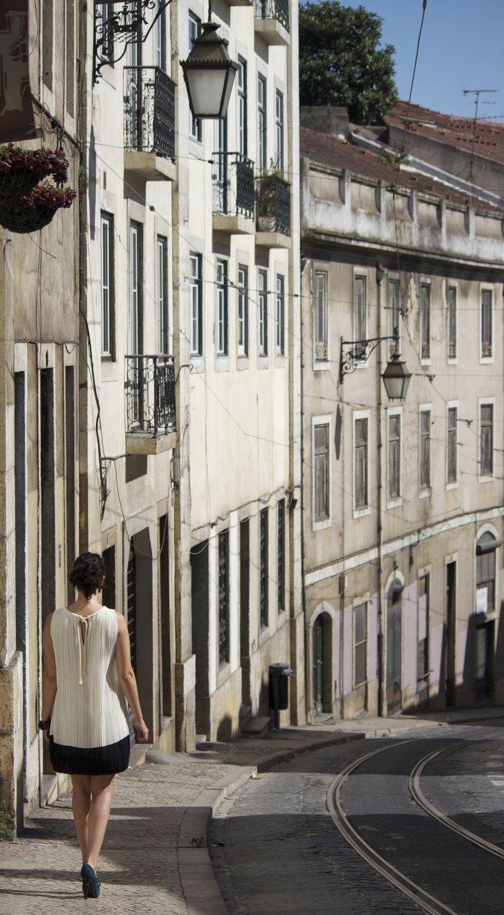 Talking a walk down Baixa Chiado, Lisbon.  www.daisycools.com