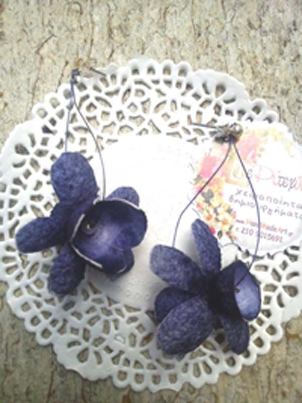 earrings with blue silk cocoons