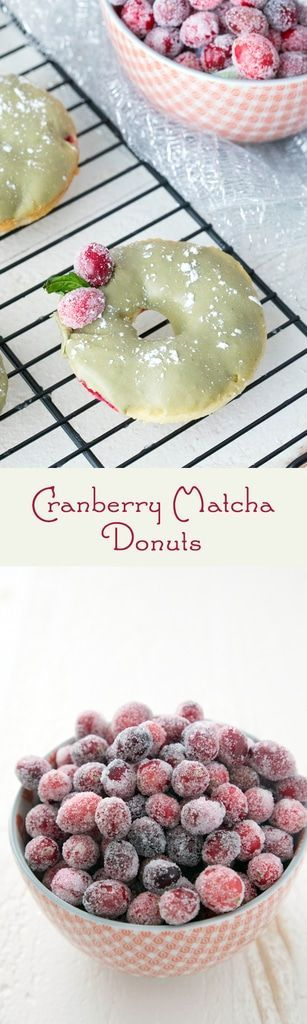 Cranberry Matcha Donuts -- These donuts make the perfect addition to the holiday dessert or brunch table. But they're actually healthier than the average donut and packed with antioxidants from the cranberries and matcha green tea powder | wearenotmartha.com #donuts #doughnuts #matcha #greentea #cranberry #cranberries