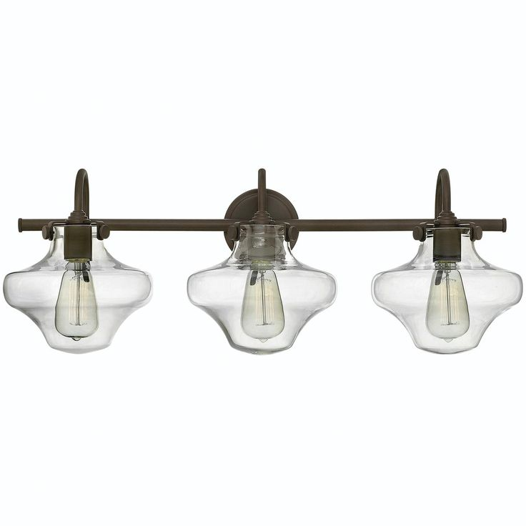 Modern Clear Schoolhouse Globe Vanity   3 Light