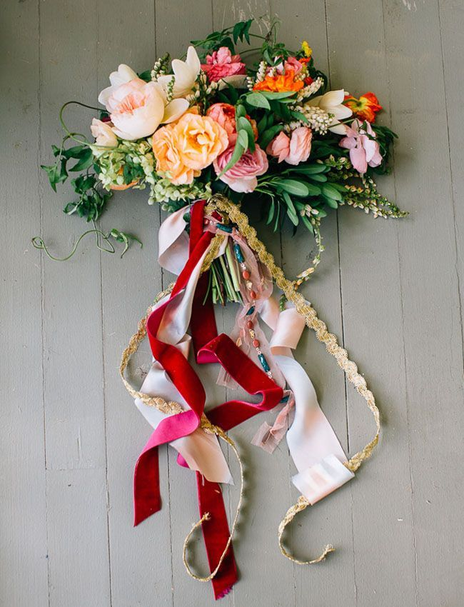 fun ribbon wrapped bouquet