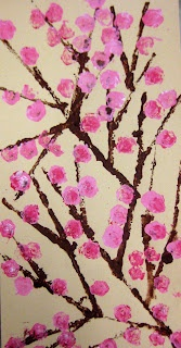 Experiments in Art Education: Kindergarten  cherry blossoms