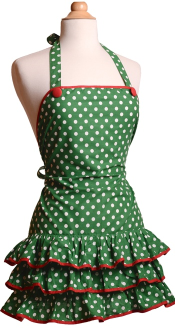 what's not to love about this one...dots & ruffles...: Sewing, Polka Dots, Aprons Kayde, Aprons Ideas, Cute Aprons, Christmas Aprons, Flirtear Aprons, Ruffles, Dots Aprons