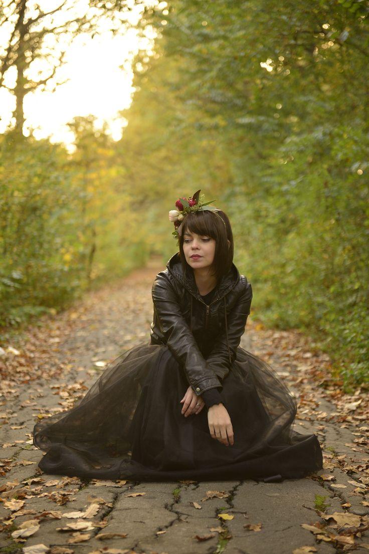 Black tulle skirt short autumn flower crown