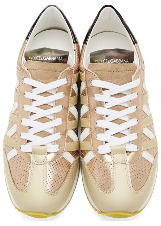 White & Gold Perforated Leather Sneakers by Dolce & Gabbana. Dolce & Gabbana.  Low