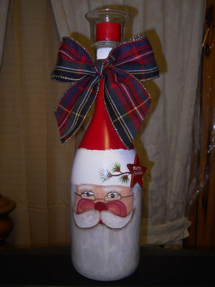 Cute painted wine bottle Santa