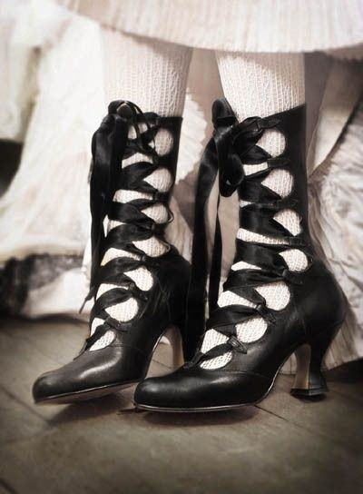 victorian lace up boots. They remind me of a heeled version of Irish dancing soft shoes.