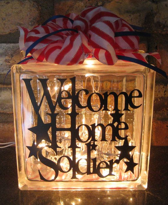 WELCOME HOME SOLDIER Lighted Glass Block by AnitasVinylVillage, $30.00