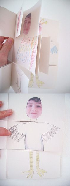 """""""..dividing them into three sections, to make books where you can swap heads, middles and legs. Here are some examples of the books they created using photographs of themselves as a starting point."""""""