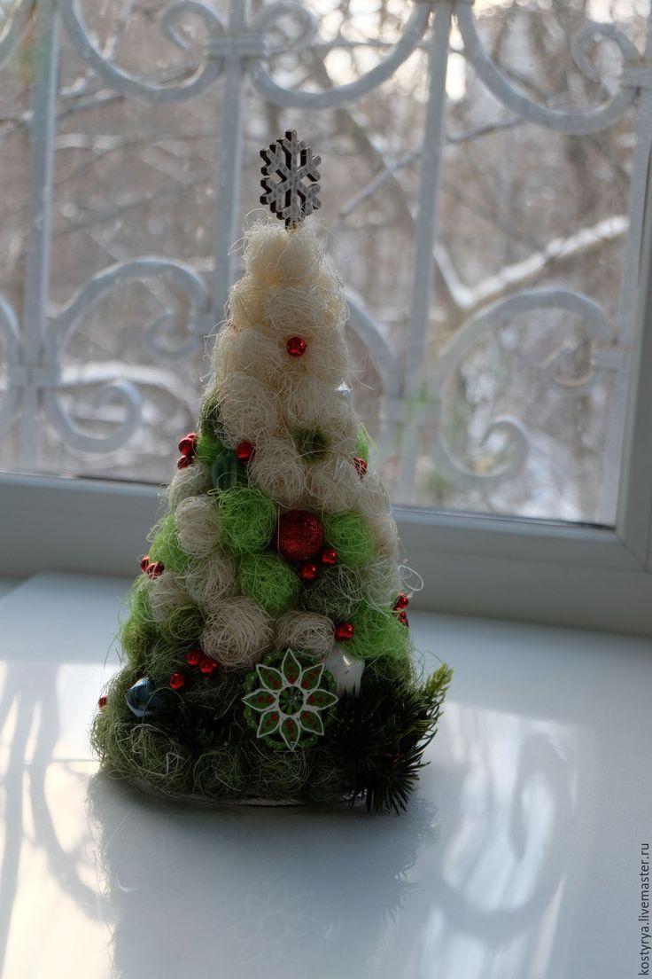 Ёлка новогодняя из сизаля №2 - зеленый, елка, елка новогодняя, елка ручной работы