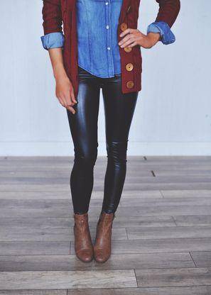 outfit >> Leatherette Leggings - Dottie Couture Boutique