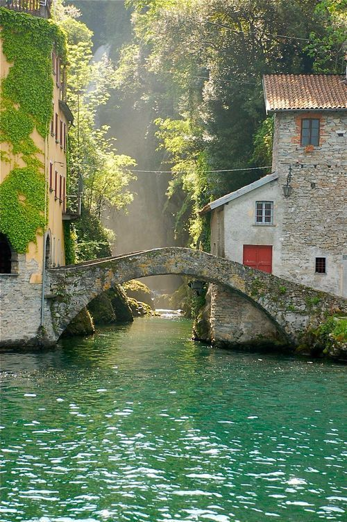 This is the perfect marriage of mankind and nature, if this could be the beautiful back-drop to my every morning life might not be too bad - Nesso, Italy