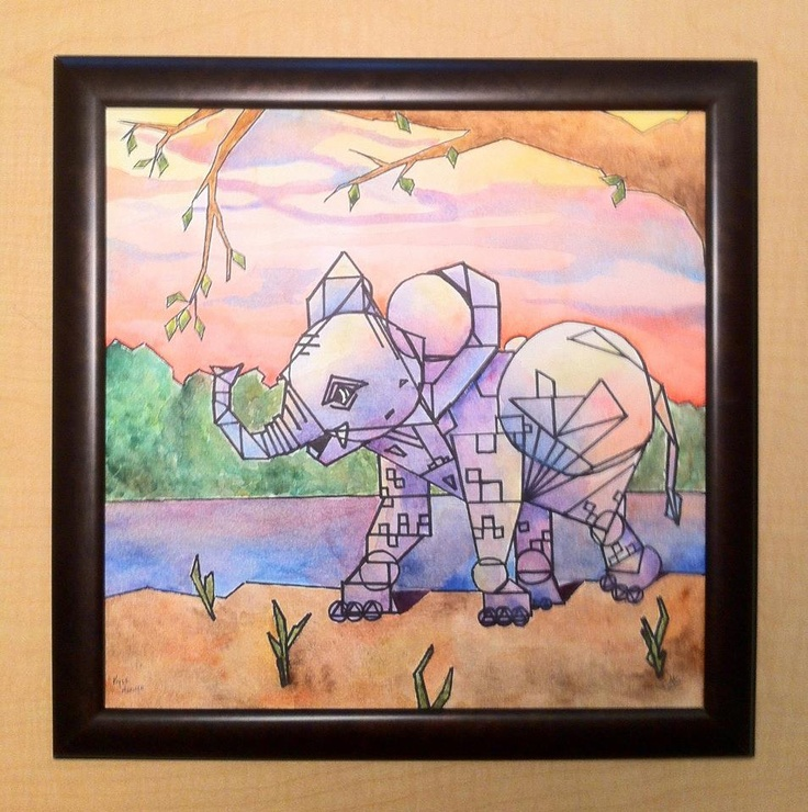 "Elephant, watercolor, 12""x12"" - Imgur"